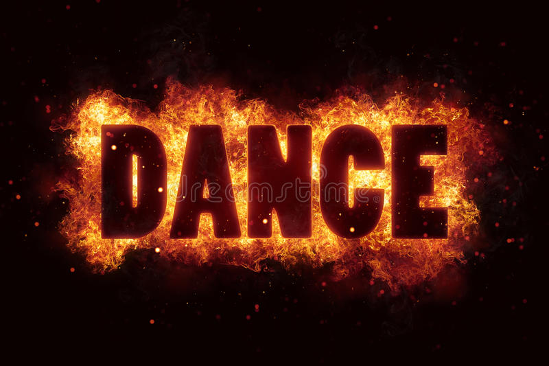 A explosão do texto da queimadura das chamas do fogo da dança explode imagem de stock