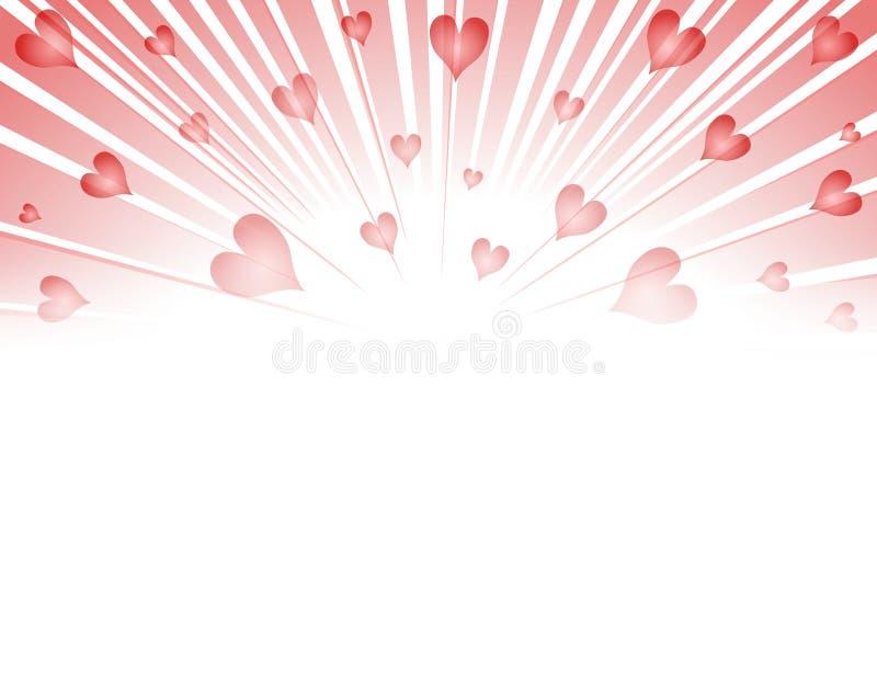 Explosão dos fogos-de-artifício dos corações do Valentim ilustração royalty free