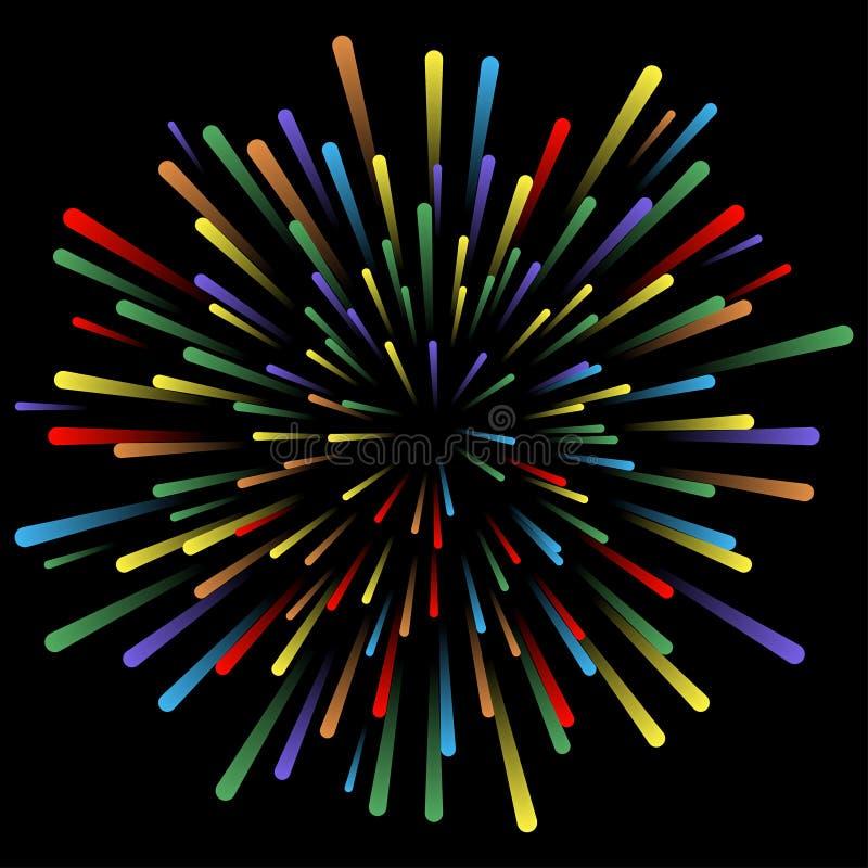 Explosão dos fogos-de-artifício Efeitos da luz de incandescência Linhas coloridas brilhantes abstratas, raios Fundo com salut pir ilustração do vetor