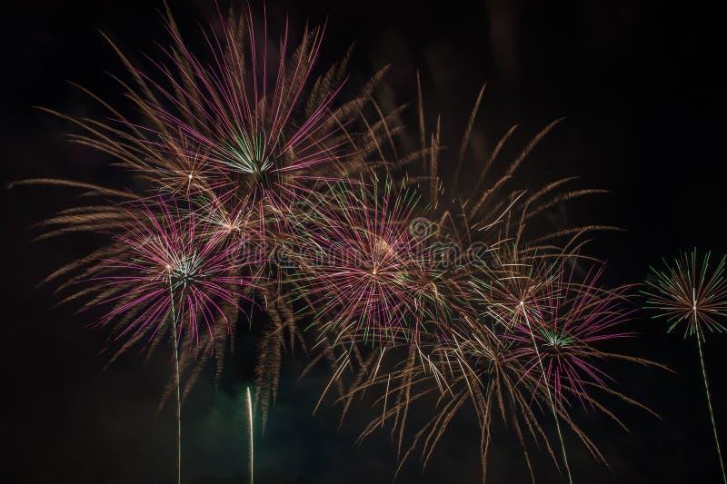 Explosão dos fogos de artifício no céu escuro imagem de stock
