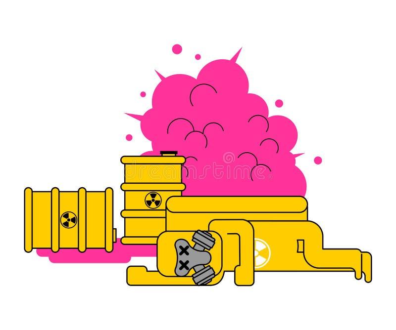 Explosão dos resíduos radioativos Tóxico amarelo da barra Absolutamente amarelo ilustração royalty free
