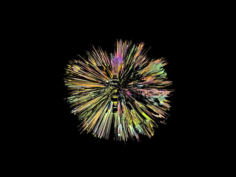 Explosão, em uma forma redonda, gráfico digital, colorido imagens de stock