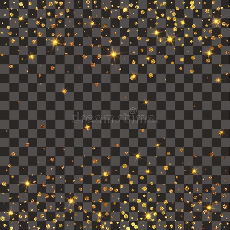Explosão festiva dos confetes Fundo do brilho do ouro Pontos dourados Às bolinhas da ilustração do vetor ilustração do vetor