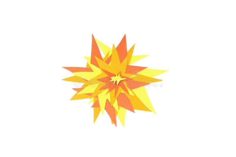 Explosão grande feita do multi papel colorido das crianças, fundo branco, flash do canhão disparado fotografia de stock royalty free