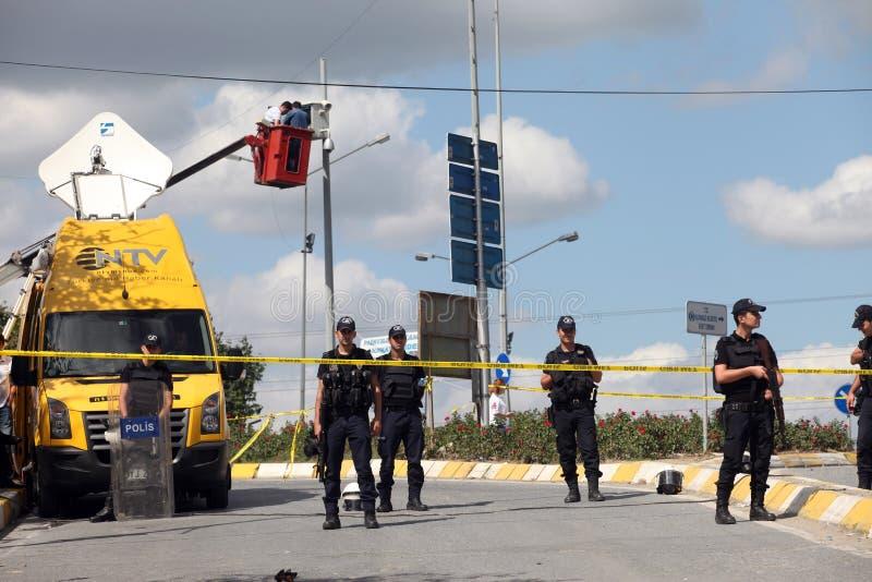Explosão na estação de polícia de Istambul fotos de stock