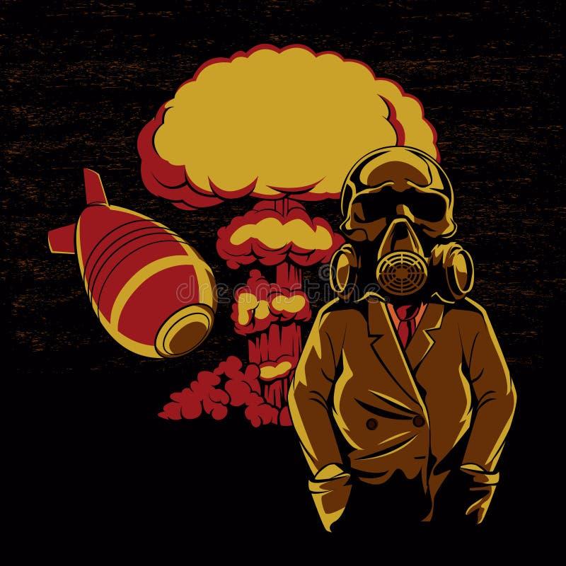 Explosão nuclear, ilustração da máscara de gás do crânio, ilustração stock