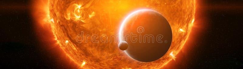 Explosão perto dos elementos da rendição da terra 3D do planeta deste im ilustração stock
