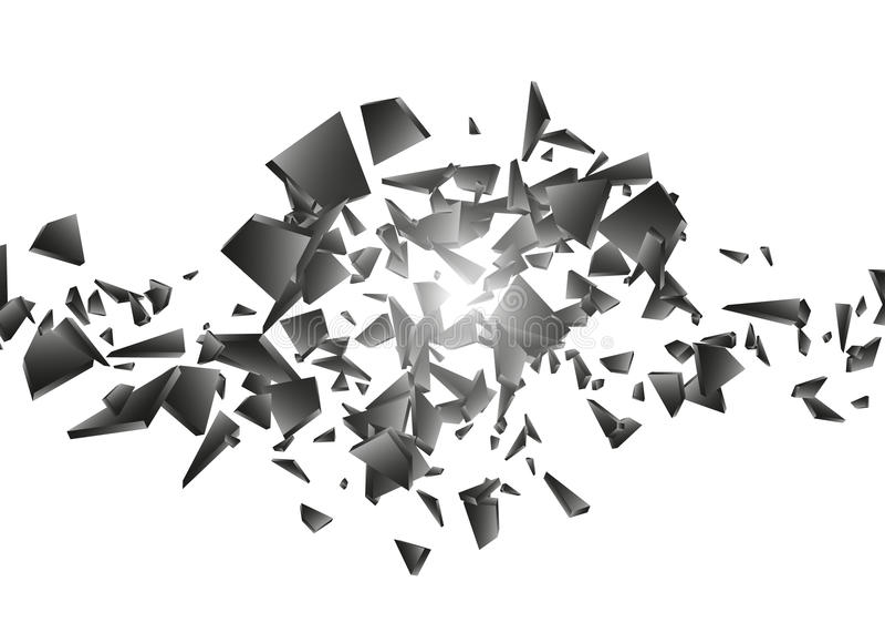 Explosão preta no fundo branco Nuvem da explosão de partes pretas ilustração abstrata do vetor ilustração do vetor