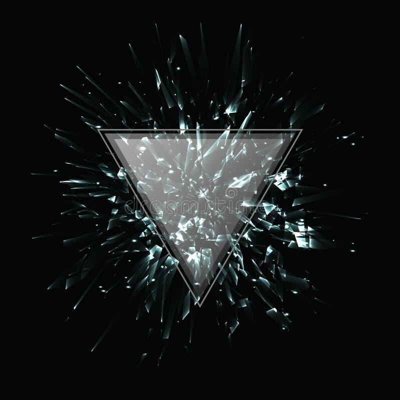 Explosão preto e branco abstrata do vetor Frame triangular ilustração do vetor