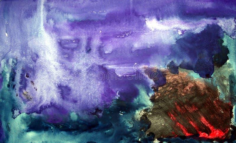 A explosão roxa Textured o projeto da aquarela fotografia de stock royalty free