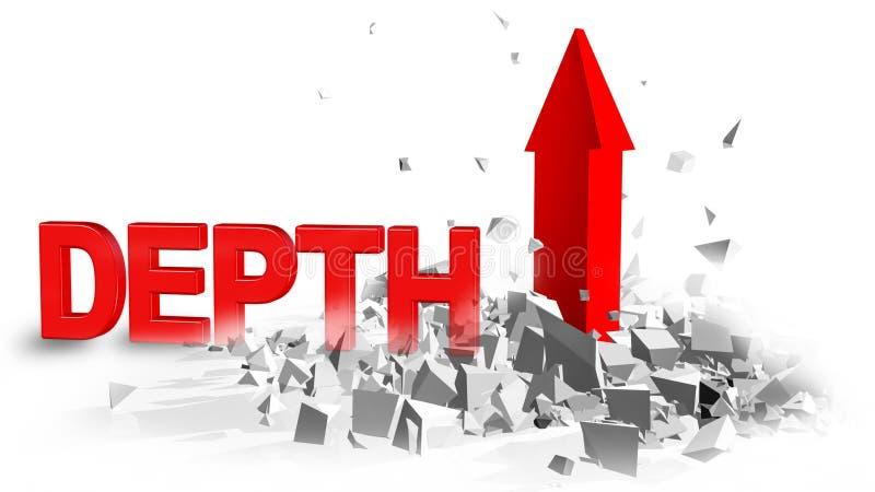 Explosão vermelha da seta da crise financeira da profundidade - rendição 3d ilustração royalty free