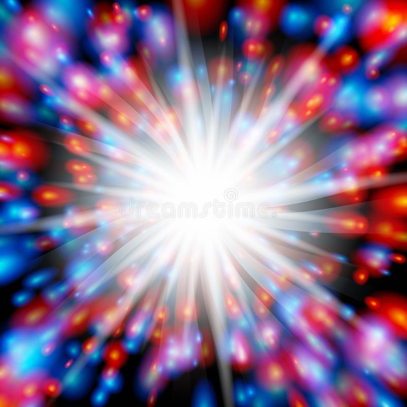 Explosão vermelha e azul ilustração royalty free