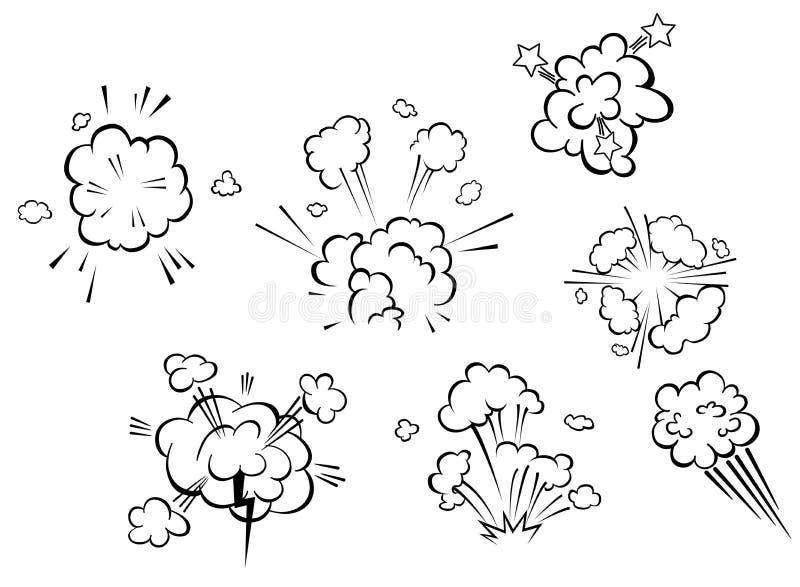 Explosões cômicas e nuvens ilustração stock