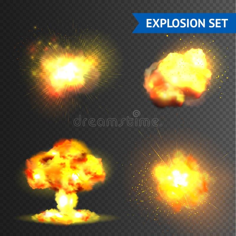 Explosões realísticas ajustadas ilustração stock