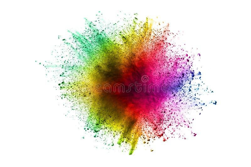 Explosión abstracta del polvo del multicolor en el fondo blanco foto de archivo