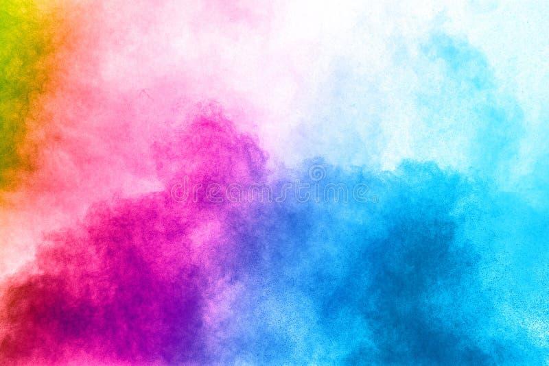 Explosión abstracta del polvo del multicolor en el fondo blanco fotografía de archivo libre de regalías