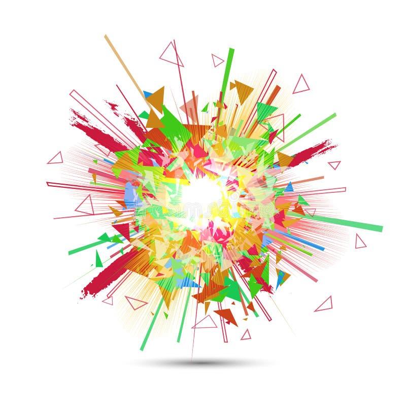 Explosión abstracta del vector Ráfaga que brilla intensamente colorida stock de ilustración