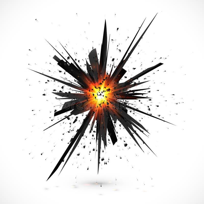Explosión aislada negro del vector con las partículas stock de ilustración