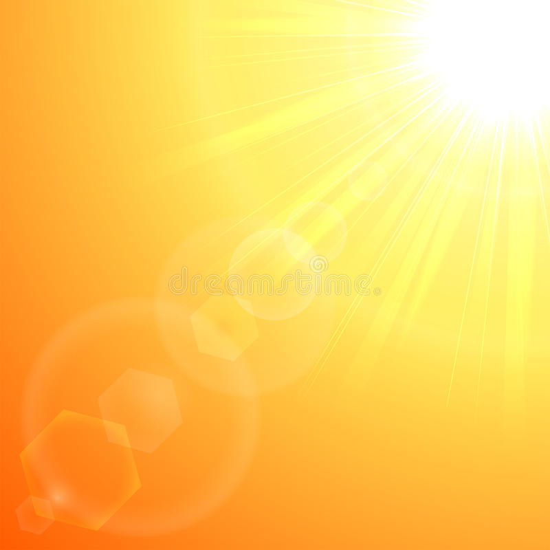 Explosión anaranjada del sol ilustración del vector