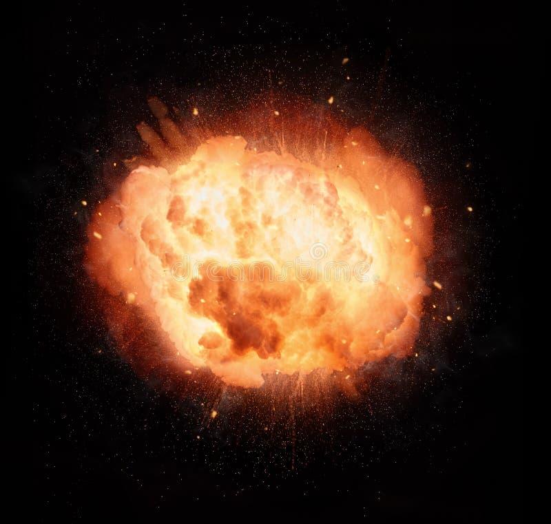 Explosión ardiente realista encima en fondo negro stock de ilustración