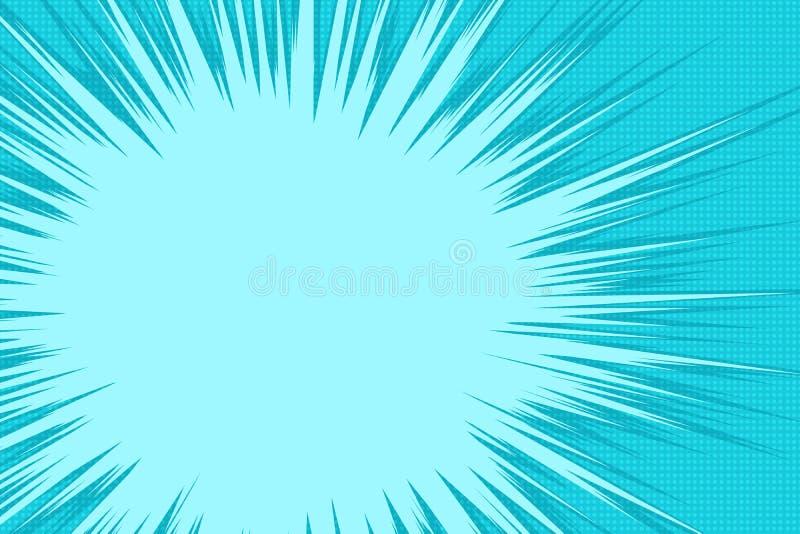 Explosión azul de la historieta ilustración del vector