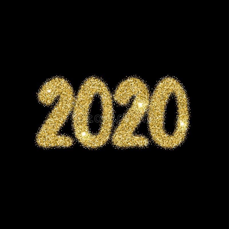 explosión brillante del fuego artificial de 2020 números del Año Nuevo en negro stock de ilustración