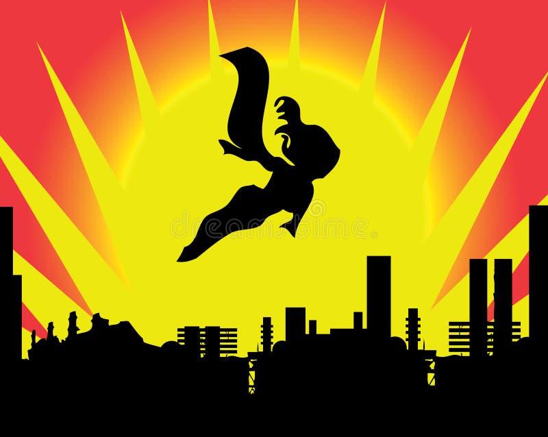 Explosión brillante del sol del pasado del super héroe stock de ilustración