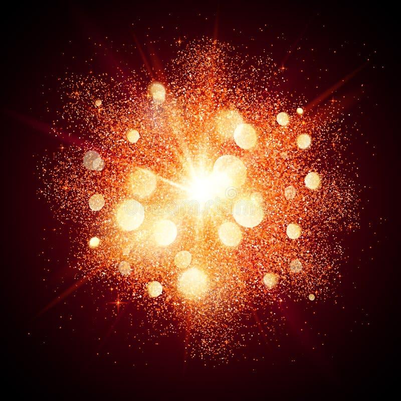 Explosión brillante roja brillante de los fuegos artificiales en el negro libre illustration