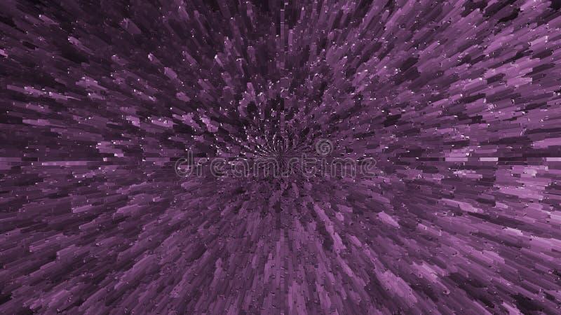 Explosión cósmica abstracta Contexto del fractal del espacio Fondo púrpura hermoso de la nebulosa Constelación geométrica stock de ilustración