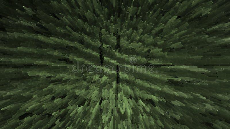 Explosión cósmica abstracta Contexto verde del fractal del espacio Fondo hermoso de la nebulosa Constelación geométrica stock de ilustración