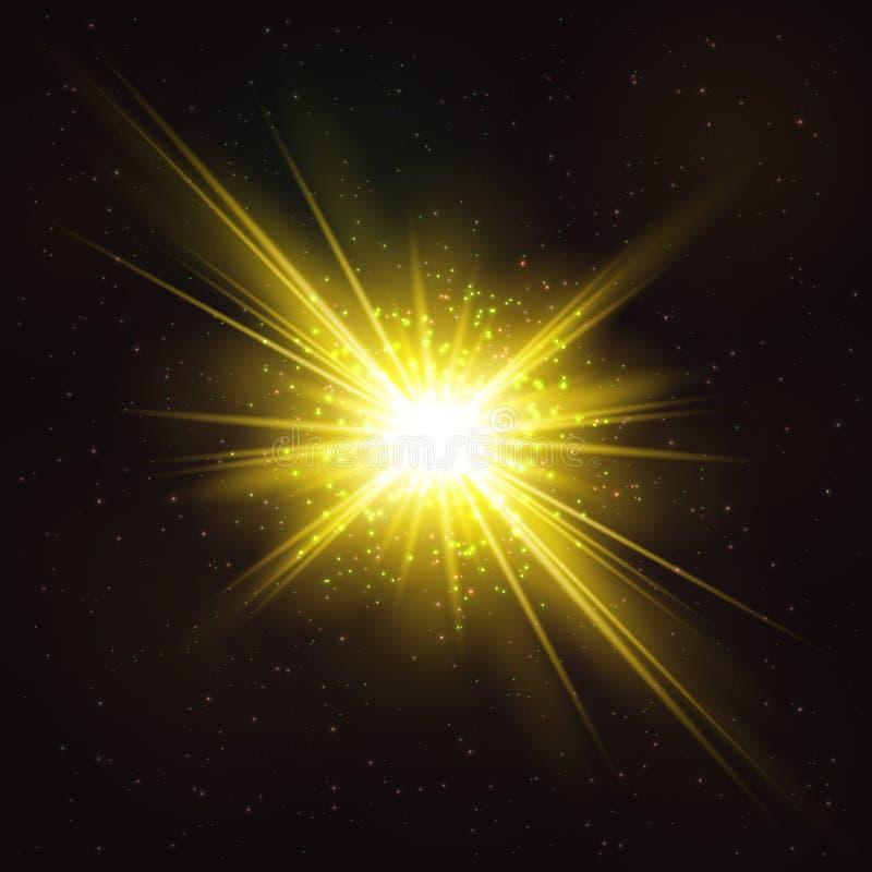 Explosión cósmica brillante ardiente de la estrella ilustración del vector