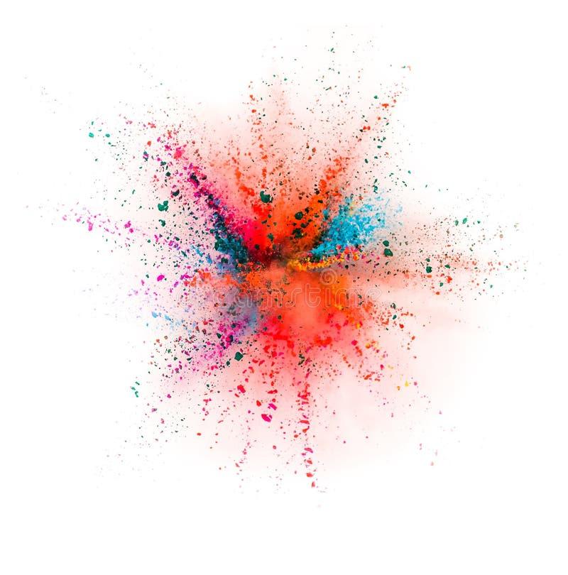 Explosión coloreada del polvo aislada en el fondo blanco stock de ilustración