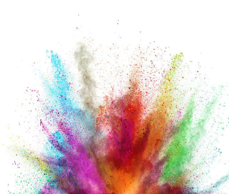 Explosión coloreada multi del polvo en el fondo blanco libre illustration