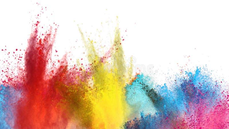 Explosión coloreada multi del polvo en el fondo blanco ilustración del vector