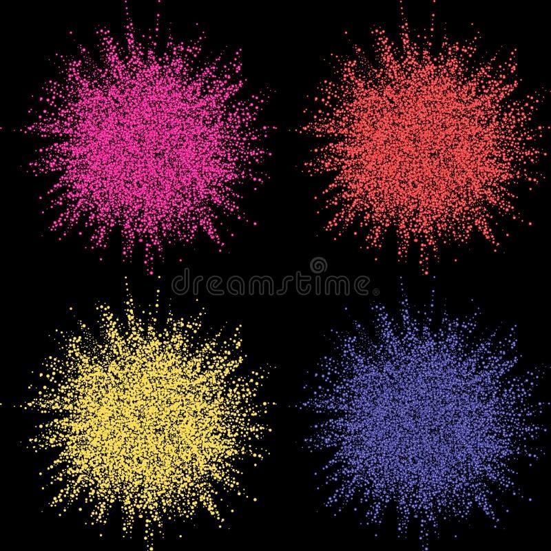 Explosión colorida para las banderas del diseño, las invitaciones y las tarjetas de felicitación Explosión de color en fondo oscu stock de ilustración