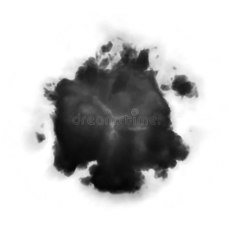 Explosión con las porciones de humo oscuro fotografía de archivo