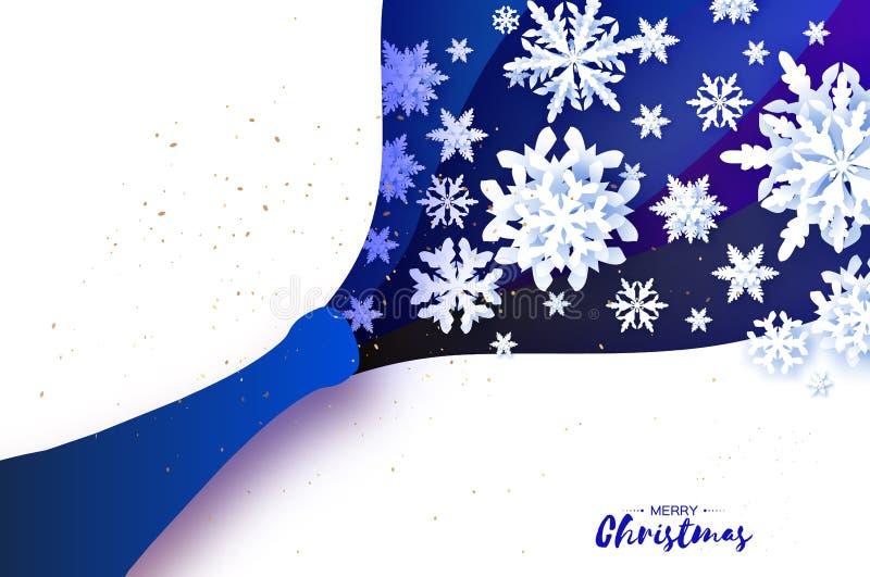 Explosión de Champán con estilo del corte del papel de los copos de nieve Tema acodado celebración de la papiroflexia con salpica stock de ilustración