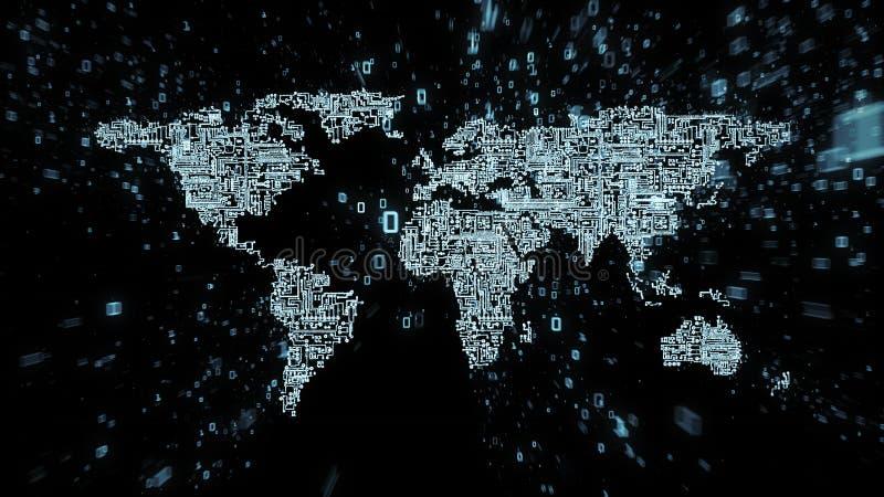 Explosión de datos binarios alrededor del mapa del mundo ilustrado como conjunto de circuitos digital stock de ilustración