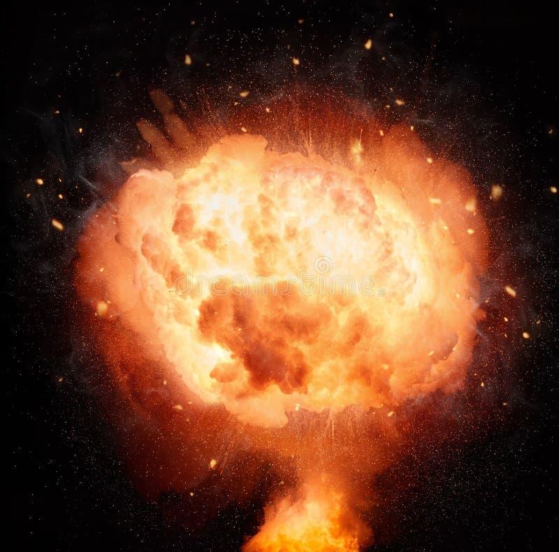 Explosión de la bomba atómica aislada en fondo negro stock de ilustración