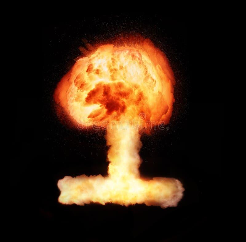 Explosión de la bomba atómica aislada en fondo negro libre illustration