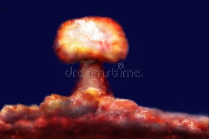 Explosión de la bomba nuclear ilustración del vector