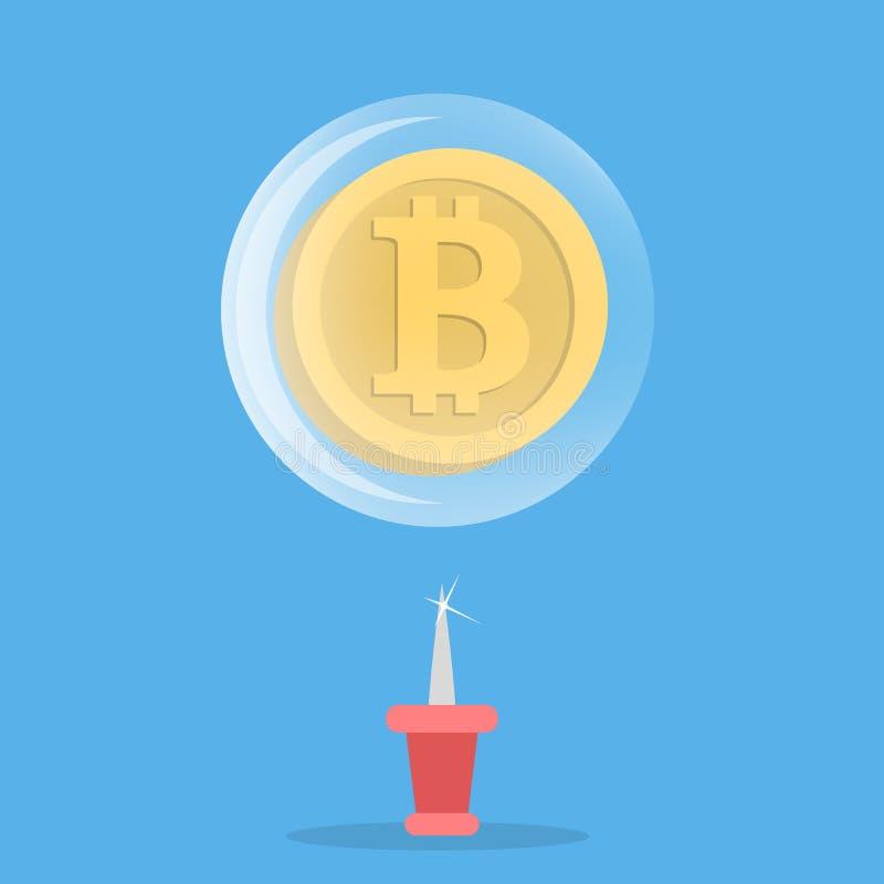 Explosión de la burbuja de Bitcoin stock de ilustración