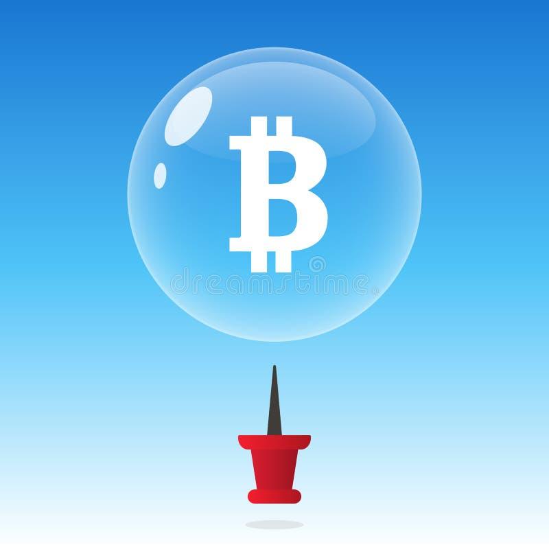 Explosión de la burbuja de Bitcoin o concepto del blockchain del cryptocurrency del desplome ilustración del vector
