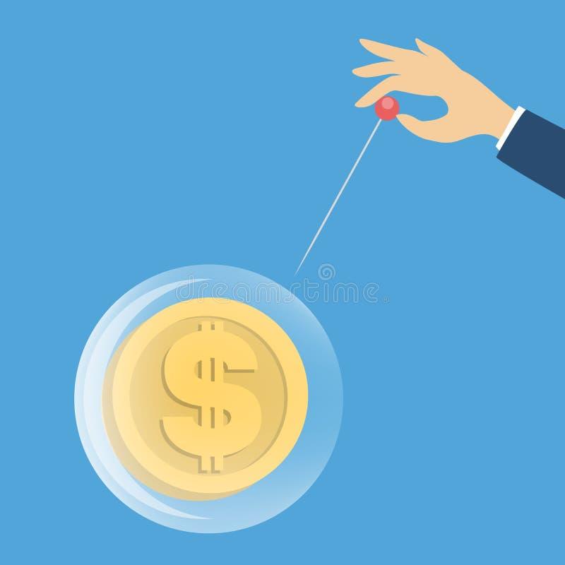 Explosión de la burbuja del dólar ilustración del vector