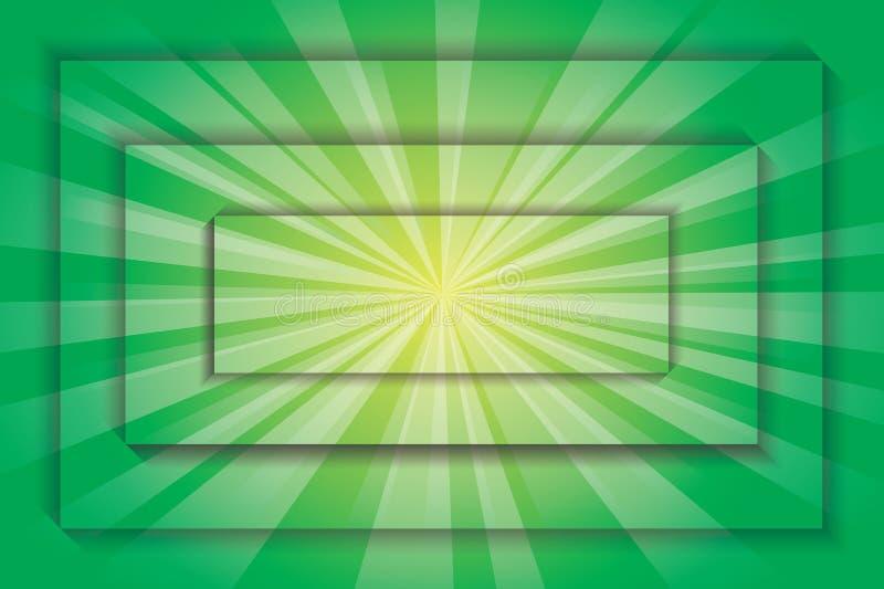 Explosión de la carta verde ilustración del vector