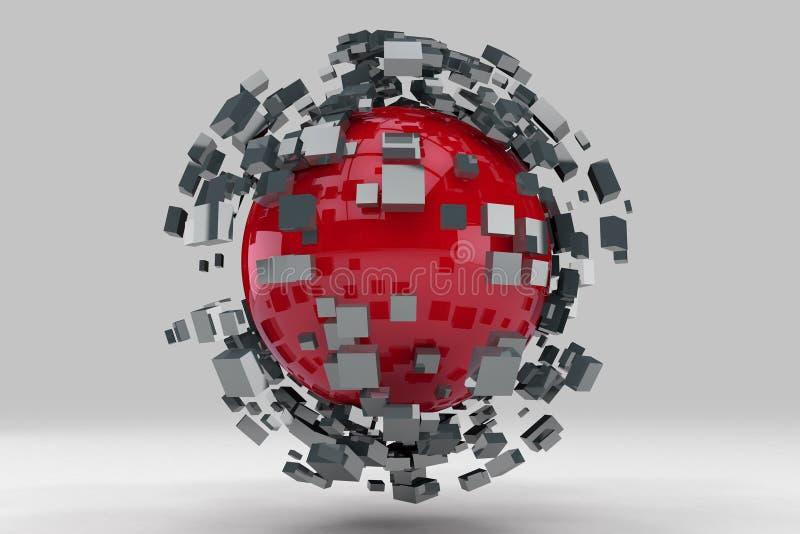 Explosión de la esfera en pedazos más pequeños stock de ilustración