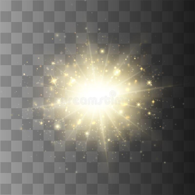 Explosión de la estrella con el polvo y la chispa aislados Efecto luminoso del resplandor ilustración del vector