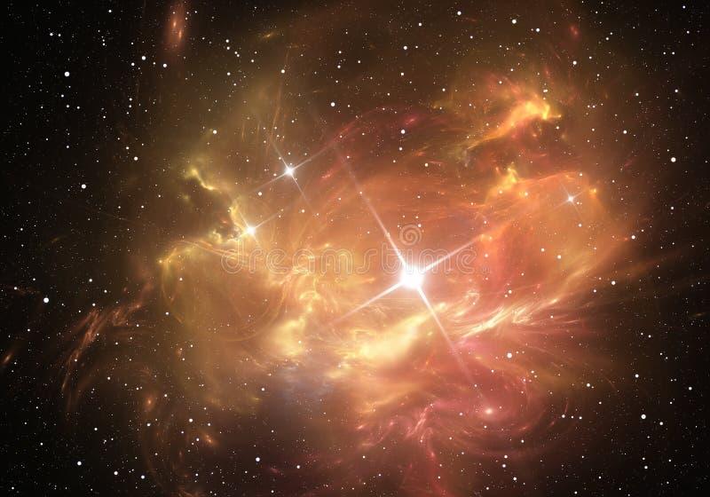 Explosión de la supernova con la nebulosa en el fondo ilustración del vector