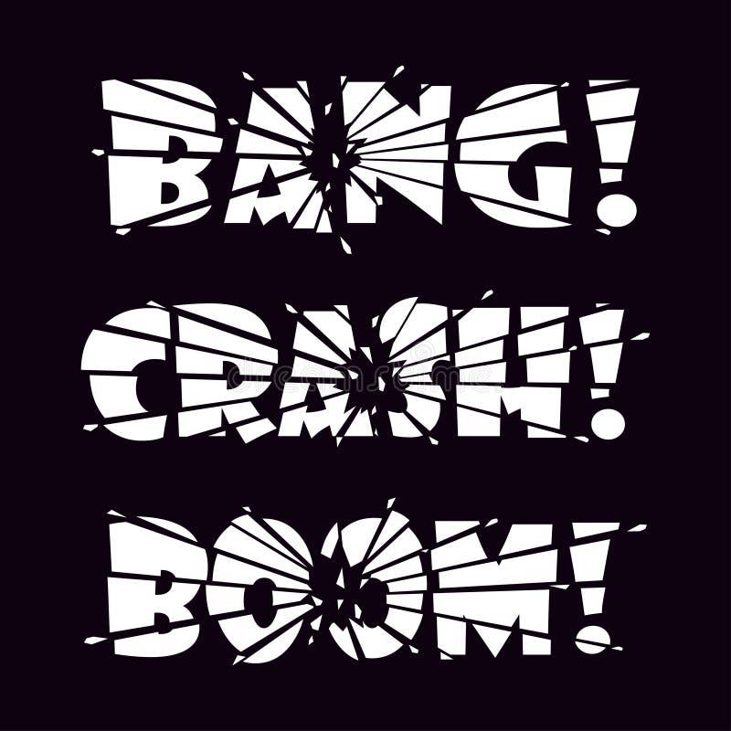 Explosión de las letras, desplome, auge Las letras son partidas en pedazos por el impacto o la explosión y cascos de las letras q libre illustration