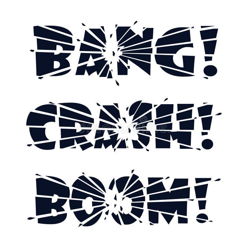 Explosión de las letras, desplome, auge Las letras son partidas en pedazos por el impacto o la explosión y cascos de las letras q ilustración del vector
